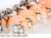 Japanese food restaurant, sushi maki gunkan roll plate or platter set. Sushi set and composition. Стоковое фото, фотограф Александр Маркин / Фотобанк Лори