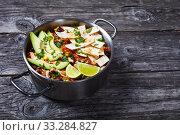 Купить «close-up of hot tasty Chicken Taco Soup», фото № 33284827, снято 3 января 2020 г. (c) Oksana Zh / Фотобанк Лори