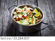Купить «close-up of hot spicy Chicken Taco Soup», фото № 33284831, снято 3 января 2020 г. (c) Oksana Zh / Фотобанк Лори