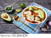 Купить «Chicken Taco Soup in a white bowl», фото № 33284839, снято 3 января 2020 г. (c) Oksana Zh / Фотобанк Лори
