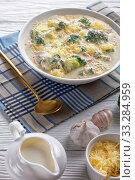 Купить «broccoli and cheddar cheese soup in a bowl», фото № 33284959, снято 18 января 2020 г. (c) Oksana Zh / Фотобанк Лори