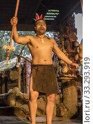 ROTORUA, NEW ZEALAND - November 10 2019: actor performing tribal warrior, shot at Mitai Maori village performance on november 10 2019 at Rotorua, North Island, New Zealand. Редакционное фото, фотограф Hal Pand / age Fotostock / Фотобанк Лори