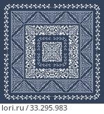 Square frame set template. Bandana with vintage ornament. Стоковая иллюстрация, иллюстратор Ольга Козырина / Фотобанк Лори