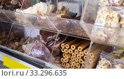 Купить «various dog feed and treats on showcase», фото № 33296635, снято 6 июля 2020 г. (c) Яков Филимонов / Фотобанк Лори