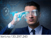 Купить «Futuristic vision concept with businessman», фото № 33297243, снято 10 мая 2020 г. (c) Elnur / Фотобанк Лори