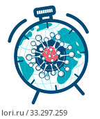 Купить «coronavirus cell icon in hours», иллюстрация № 33297259 (c) Седых Алена / Фотобанк Лори