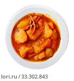 Купить «Braised squid with potatoes», фото № 33302843, снято 9 апреля 2020 г. (c) Яков Филимонов / Фотобанк Лори