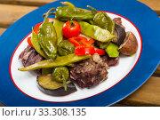Купить «Stew mutton meat with vegetables», фото № 33308135, снято 16 августа 2018 г. (c) Яков Филимонов / Фотобанк Лори