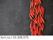 Купить «red chili or cayenne pepper on slate stone surface», фото № 33308575, снято 6 сентября 2018 г. (c) Syda Productions / Фотобанк Лори