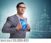 Купить «Superhero preparing to save the city», фото № 33309431, снято 3 июня 2020 г. (c) Elnur / Фотобанк Лори