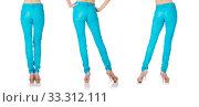 Купить «Woman legs in blue trousers», фото № 33312111, снято 4 июня 2013 г. (c) Elnur / Фотобанк Лори