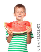 Boy holding a watermelon isolated on white background. Стоковое фото, фотограф Zoonar.com/Sergii Figurnyi / age Fotostock / Фотобанк Лори