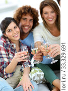 Купить «Closeup of friends cheering with glass of wine», фото № 33329691, снято 12 июля 2020 г. (c) PantherMedia / Фотобанк Лори
