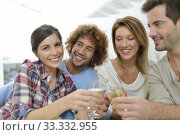 Купить «Closeup of friends cheering with glass of wine», фото № 33332955, снято 12 июля 2020 г. (c) PantherMedia / Фотобанк Лори