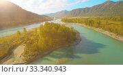 Купить «Low altitude flight over fresh fast mountain river with rocks at sunny summer morning.», видеоролик № 33340943, снято 31 марта 2019 г. (c) Александр Маркин / Фотобанк Лори