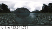 Купить «Mountain lake 360 vr at the summer or autumn time. Wild nature and rural mount valley. Green forest of pine trees and fast clouds on sky.», фото № 33341731, снято 14 июля 2020 г. (c) Александр Маркин / Фотобанк Лори