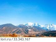 Купить «Mont-Blanc view mountain peaks from Passy valley», фото № 33343167, снято 27 февраля 2019 г. (c) Сергей Новиков / Фотобанк Лори
