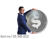 Купить «Businessman with dollar coin isolated on white background», фото № 33345023, снято 6 июня 2020 г. (c) Elnur / Фотобанк Лори