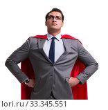 Купить «Super hero businessman isolated on white», фото № 33345551, снято 21 декабря 2016 г. (c) Elnur / Фотобанк Лори
