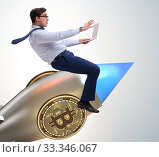 Купить «Businessman flying on rocket in bitcoin price rising concept», фото № 33346067, снято 7 июня 2020 г. (c) Elnur / Фотобанк Лори