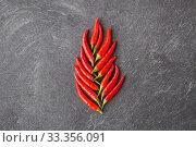 Купить «red chili or cayenne pepper on slate stone surface», фото № 33356091, снято 6 сентября 2018 г. (c) Syda Productions / Фотобанк Лори