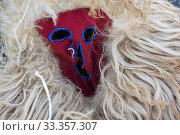 Detail of one of the masks of 'Los Sidros' with which they participate in the winter masquerade of Valdesoto (Asturias). (2020 год). Редакционное фото, фотограф Joaquín Gómez / age Fotostock / Фотобанк Лори