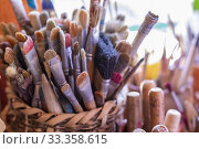 Купить «Yanhuitlan, Oaxaca, Mexico - Paint brushes the the studio of Manuel Reyes. Reyes is a noted ceramic artist, sculptor, and painter.», фото № 33358615, снято 29 января 2020 г. (c) age Fotostock / Фотобанк Лори