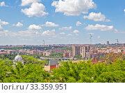 Вид сверху на современный город. Мадрид. Испания (2013 год). Стоковое фото, фотограф Сергей Афанасьев / Фотобанк Лори