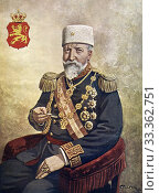 Color portrait of Ferdinand I of Bulgaria (Vienna 1861 - Coburg 1948), was prince and tsar of Bulgaria. Bulgaria proclaimed the independence of the Ottoman... Редакционное фото, фотограф Jerónimo Alba / age Fotostock / Фотобанк Лори