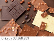 Купить «chocolate bars with hazelnuts and cocoa beans», фото № 33368859, снято 1 февраля 2019 г. (c) Syda Productions / Фотобанк Лори