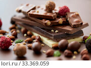 Купить «close up of different chocolates, candies and nuts», фото № 33369059, снято 1 февраля 2019 г. (c) Syda Productions / Фотобанк Лори