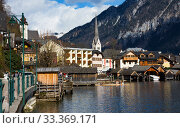 Hallstatt - UNESCO Heritage village against mountain and lake in winter. It`s most popular, romance and dream of destination for many tourists. Austria. Стоковое фото, фотограф Papoyan Irina / Фотобанк Лори