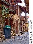 Купить «The narrow mediaeval street of old Kakopetria. Nicosia District. Cyprus», фото № 33373679, снято 11 июня 2018 г. (c) Serg Zastavkin / Фотобанк Лори
