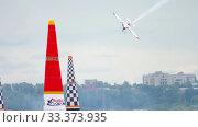 Купить «Racing airplane at the stage», видеоролик № 33373935, снято 14 июня 2019 г. (c) Игорь Жоров / Фотобанк Лори
