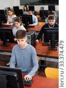 Купить «Computer lessons for adults in classroom», фото № 33374479, снято 31 марта 2020 г. (c) Яков Филимонов / Фотобанк Лори