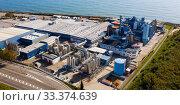 Купить «Aerial view of a chemical plant in Mataro. Spain», фото № 33374639, снято 24 ноября 2019 г. (c) Яков Филимонов / Фотобанк Лори