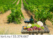Red wine, cheese, bread and grapes on background with vineyard. Стоковое фото, фотограф Яков Филимонов / Фотобанк Лори