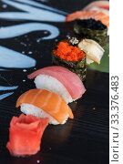 Купить «Japanese seafood sushi set», фото № 33376483, снято 11 марта 2020 г. (c) Jan Jack Russo Media / Фотобанк Лори