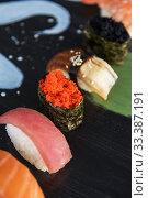 Купить «Japanese seafood sushi set», фото № 33387191, снято 11 марта 2020 г. (c) Jan Jack Russo Media / Фотобанк Лори