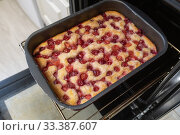 Купить «Baked cherry pie on a baking sheet in the oven», фото № 33387607, снято 11 марта 2020 г. (c) Володина Ольга / Фотобанк Лори
