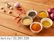Купить «spices, onion, garlic and red hot chili peppers», фото № 33391339, снято 6 сентября 2018 г. (c) Syda Productions / Фотобанк Лори