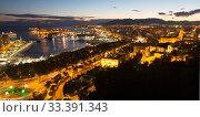 View of Malaga and Mediterranean port in evenin (2014 год). Стоковое фото, фотограф Яков Филимонов / Фотобанк Лори