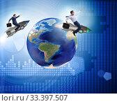 Two businessmen chasing around globe. Стоковое фото, фотограф Elnur / Фотобанк Лори