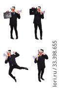 Купить «Businessman clown with loudspeaker on white», фото № 33398655, снято 28 октября 2013 г. (c) Elnur / Фотобанк Лори