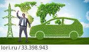 Купить «Electric car and green energy concept», фото № 33398943, снято 15 июля 2020 г. (c) Elnur / Фотобанк Лори