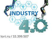 Купить «Industry 4.0 concept with various stages - 3d rendering», фото № 33399507, снято 4 апреля 2020 г. (c) Elnur / Фотобанк Лори
