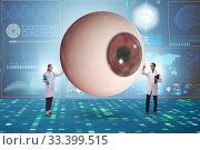 Купить «Doctor examining giant eye in medical concept», фото № 33399515, снято 9 апреля 2020 г. (c) Elnur / Фотобанк Лори