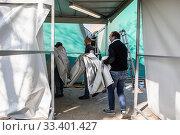 Купить «Work is progressing rapidly on the new field unit of the San Raffaele hospital of the IRCCS, financed by the fundraising launched by Chiara Ferragni and...», фото № 33401427, снято 19 марта 2020 г. (c) age Fotostock / Фотобанк Лори