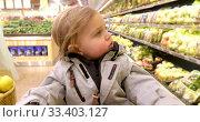 Купить «Toddler in warm jacket in supermarket», видеоролик № 33403127, снято 19 ноября 2019 г. (c) Ekaterina Demidova / Фотобанк Лори