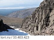 Купить «View from the Khibiny Massif or Khibins at the Imandra lake. The Kola Peninsula, Russia, within the Arctic Circle», фото № 33403423, снято 18 июля 2015 г. (c) Кекяляйнен Андрей / Фотобанк Лори